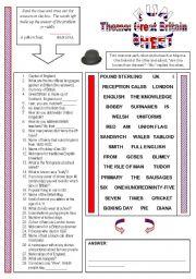 English Worksheet: Fun Sheet Theme: Great Britain
