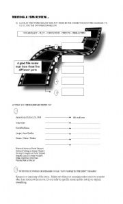 English Worksheet: Writing a Good Film Review