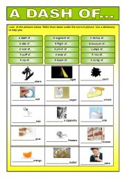 English Worksheets: A dash of...