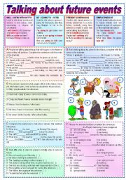 English Worksheet: Talking about future events  (fully editable, keys included)
