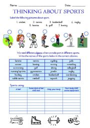 English Worksheet: Sport and equipment used