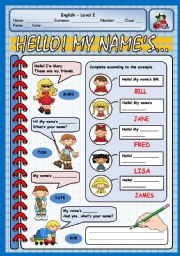 English Worksheet: HELLO! MY NAME´S...