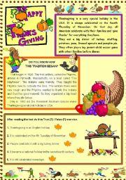English Worksheet: Thanksgiving story