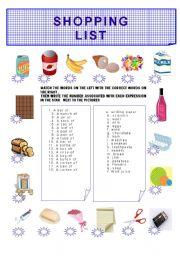 English Worksheet: SHOPPING LIST
