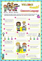 English Worksheet: Back to School  Classroom Language  (1/2)