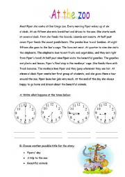 English Worksheets: At the Zoo (2 pages worksheet)