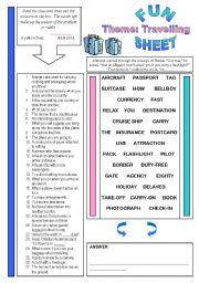English Worksheets: Fun Sheet Theme: Travelling