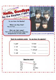 English Worksheets: SONG for Beginners:  Practice Opposites: Hello, Goodbye by the Beatles [3 pages w/ exercises & lyrics]