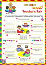 English Worksheet: Back to School series  -  Teacher´s Talk  (1/2)