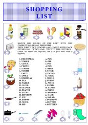 English Worksheet: SHOPPING LIST -COMPOUNDS