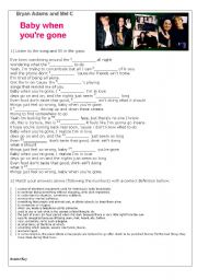 English Worksheets: Baby when you�re gone - song by Bryan Adams and Mel C