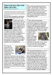 English Worksheet: Recent News Clips from the British Press. On the lighter side of Life. (1)