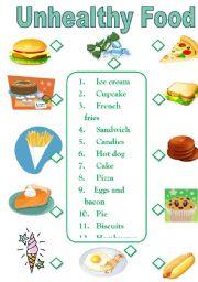 worksheet: Unhealthy Food + B&W version.