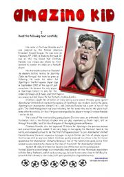 English Worksheet: Cristiano Ronaldo - Amazing Kid