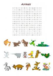 English Worksheets: animals wordsearch