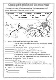 English Worksheet: Geographical features( Key answers are included )