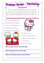 English Worksheet: Punctuation with Hello Kitty