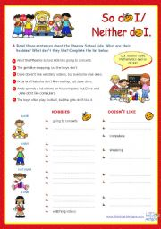 English Worksheets: So do I / Neither do I  -  Grammar ws for Upper Elementary and Lower Intermediate sts.