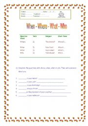 English Worksheets: When / Where / What / Who