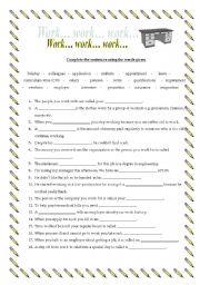 English Worksheet: Workplace Vocabulary