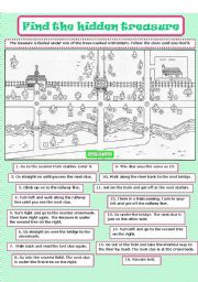 English Worksheets: Find the hidden treasure