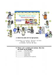 English worksheet: Occupations or Jobs(health care, manufacturing, and building&construction) 2p.g.
