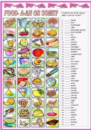 English Worksheet: FOOD- A/AN-SOME- COMPLETE AND MATCH (B&W VERSION INCLUDED)