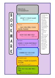 English Worksheets: BOOKMARK plus MEMO GAME  (2 PAGES)