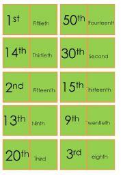 Dominoes Ordinal Numbers