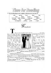 English Worksheet: Time for reading - wedding