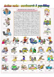 English Worksheet: Action Verbs - wordsearch & gap-filling (fully editable / keys included)