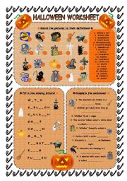 Very cute and easy worksheet which deals with halloween theme enjoy