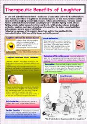 English Worksheets: 8 Benefits of Laughter