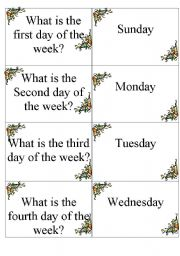 Dominoes DAYS OF THE WEEK