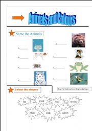 English Worksheets: Fun Animal Pictures