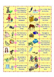 English Worksheet: Comparative Adjective Domino-1