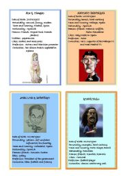 English Worksheet: Famous People speaking cards 1
