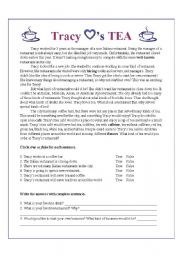 English Worksheet: Tracy Loves Tea