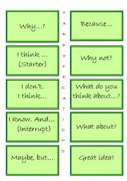 English Worksheets: CARDVERSATIONS - GREAT SPEAKING ACTIVITY! Rules + Black and white version included!! + blank cards  FULLY EDITABLE