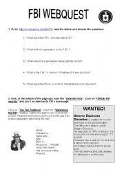 English Worksheets: FBI webquest