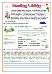 English Worksheet: Describing a Holiday