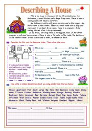 English worksheet describing a house for Describe furniture in your home
