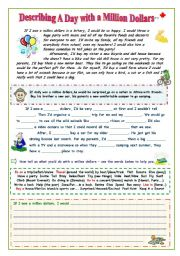 English Worksheet: Describing A Day with a Million Dollars