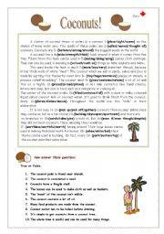 English Worksheets: Coconuts!