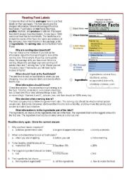 Printables Reading Labels Worksheet english worksheet reading food labels