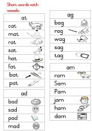 English Worksheets: Short words Handout 1