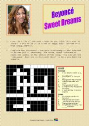 English Worksheet: Song: Sweet Dreams by Beyonce