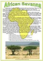 English Worksheets: African Savanna