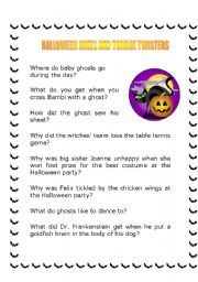 Halloween Jokes and Tongue Twisters