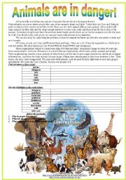 English Worksheets: Animals are in danger